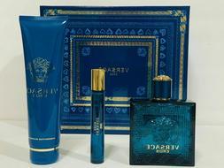 Versace Eros Cologne Gift Set for Men - 3.4 oz EDT Spray + 0