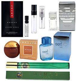 Men's 7-Piece Fragrance Sampler Set: Mix of Cologne Minis &