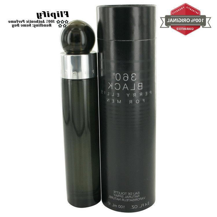 Perry Ellis 360 Black Cologne 6.8 oz 3.4 oz EDT Spray for ME