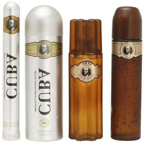 Cuba Gold for Men Set 3.4oz Spray, deodorant 3.3oz after shave, 1.17oz EDT with