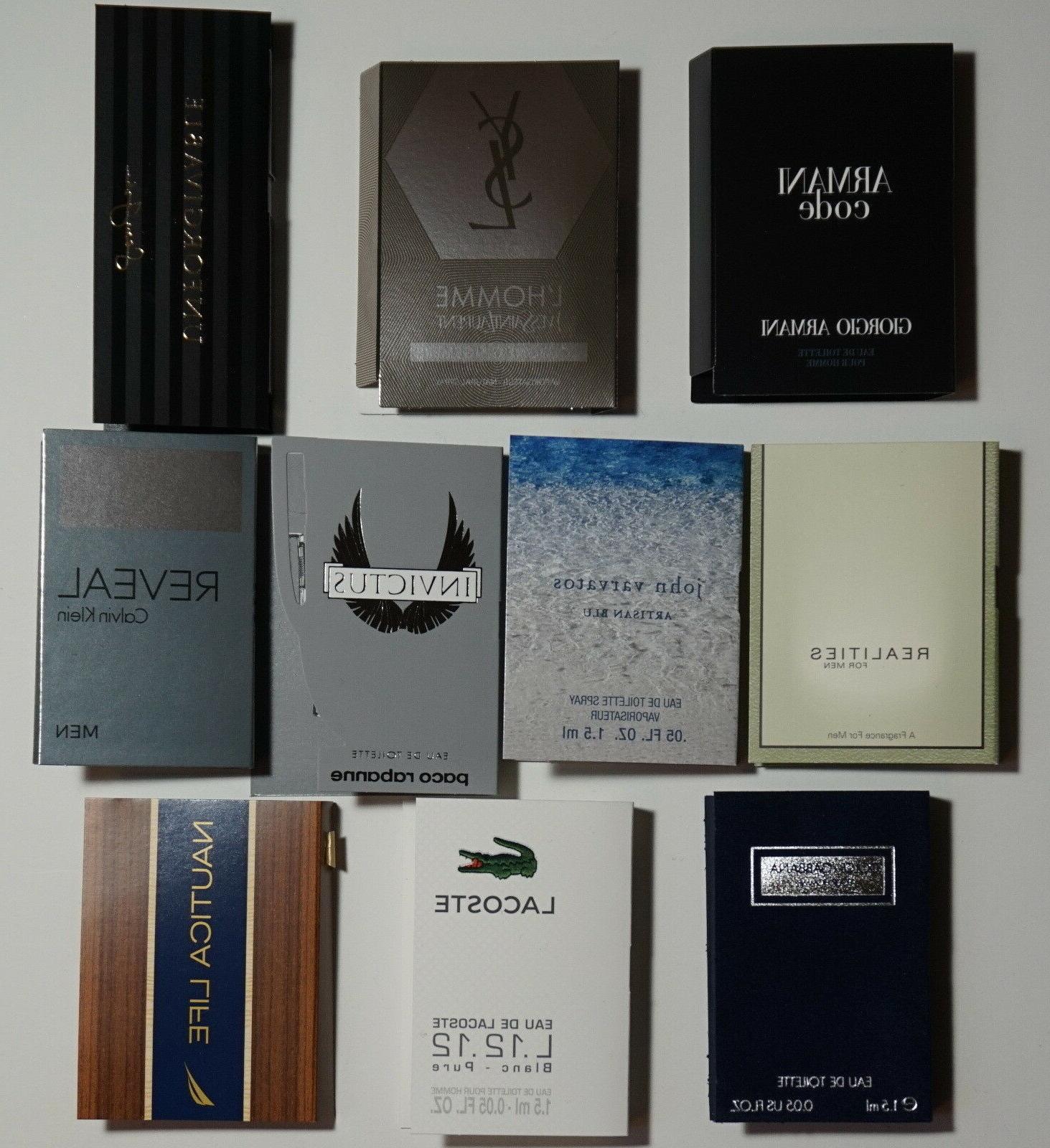 Lot of 10 Mens Cologne Samples Armani Dolce & Gabbana YSL La