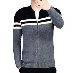Toimothcn Mens Knit Coat Full Zipper Casual Slim Fit Jacket