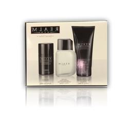 Realm Men 1.7 cologne+ 6.8 gel+ 3.0 deodorant Gift Set NIB